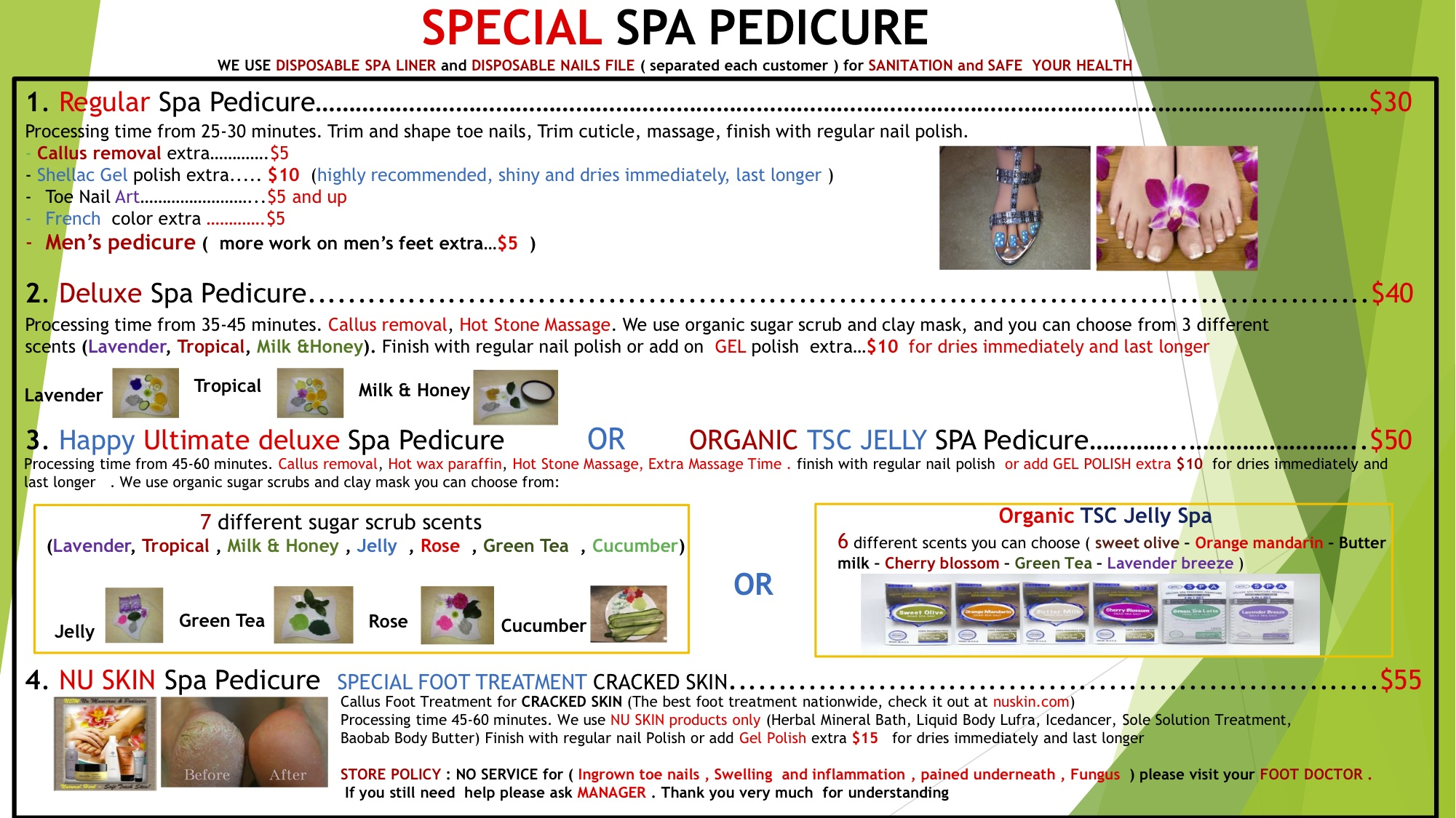 Special Spa Pedicure Menu